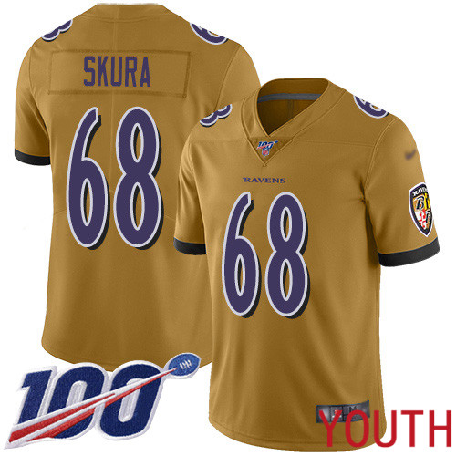 Baltimore Ravens Limited Gold Youth Matt Skura Jersey NFL Football 68 100th Season Inverted Legend