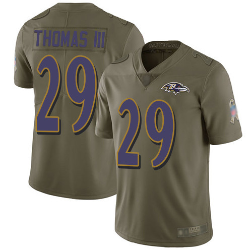 Baltimore Ravens Limited Olive Men Earl Thomas III Jersey NFL Football 29 2017 Salute to Service