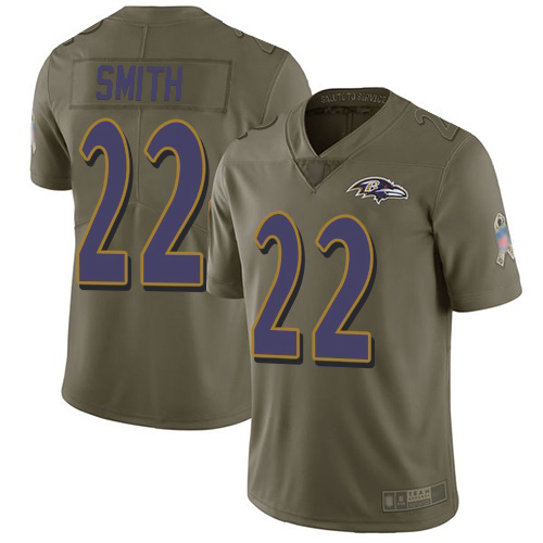 Baltimore Ravens Limited Olive Men Jimmy Smith Jersey NFL Football 22 2017 Salute to Service