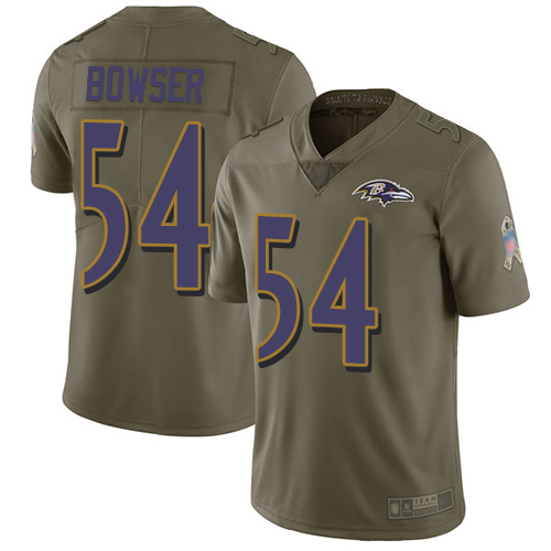 Baltimore Ravens Limited Olive Men Tyus Bowser Jersey NFL Football 54 2017 Salute to Service