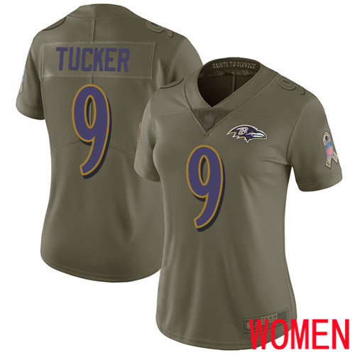 Baltimore Ravens Limited Olive Women Justin Tucker Jersey NFL Football 9 2017 Salute to Service