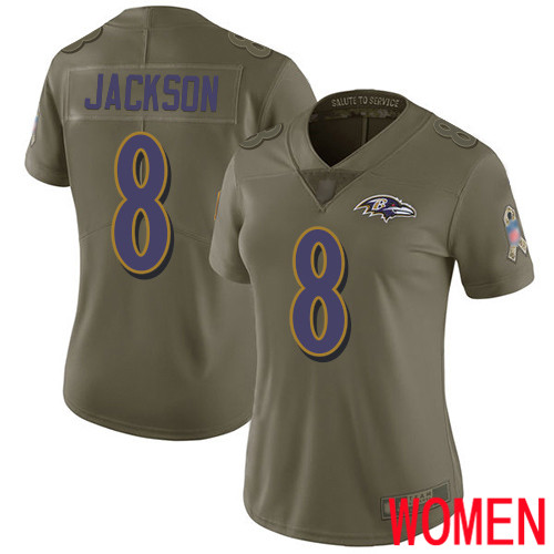 Baltimore Ravens Limited Olive Women Lamar Jackson Jersey NFL Football 8 2017 Salute to Service
