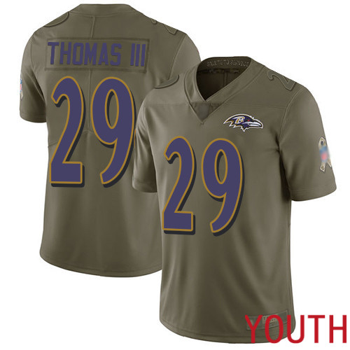 Baltimore Ravens Limited Olive Youth Earl Thomas III Jersey NFL Football 29 2017 Salute to Service