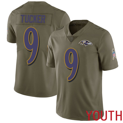 Baltimore Ravens Limited Olive Youth Justin Tucker Jersey NFL Football 9 2017 Salute to Service