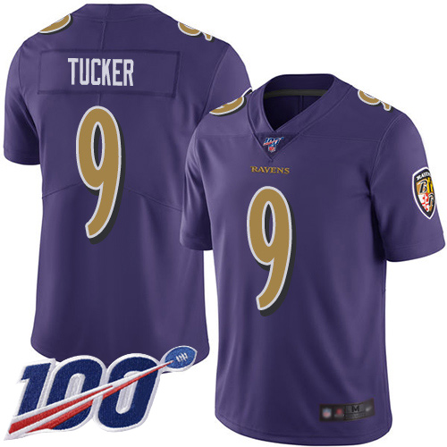 Baltimore Ravens Limited Purple Men Justin Tucker Jersey NFL Football 9 100th Season Rush Vapor Untouchable