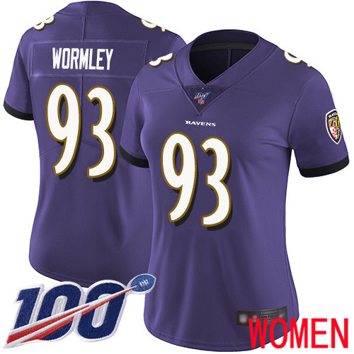 Baltimore Ravens Limited Purple Women Chris Wormley Home Jersey NFL Football 93 100th Season Vapor Untouchable
