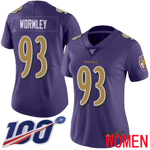 Baltimore Ravens Limited Purple Women Chris Wormley Jersey NFL Football 93 100th Season Rush Vapor Untouchable