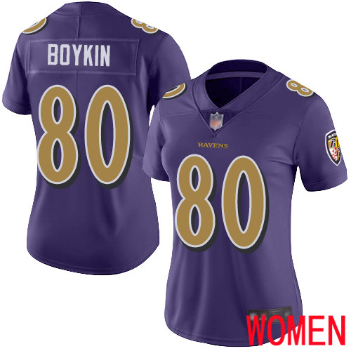 Baltimore Ravens Limited Purple Women Miles Boykin Jersey NFL Football 80 Rush Vapor Untouchable