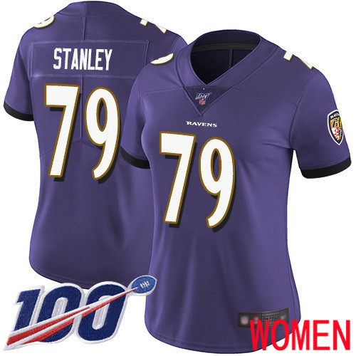 Baltimore Ravens Limited Purple Women Ronnie Stanley Home Jersey NFL Football 79 100th Season Vapor Untouchable