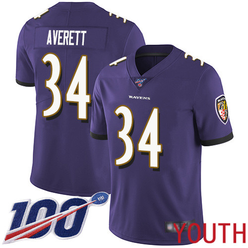 Baltimore Ravens Limited Purple Youth Anthony Averett Home Jersey NFL Football 34 100th Season Vapor Untouchable