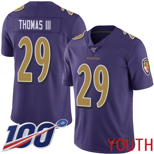 Baltimore Ravens Limited Purple Youth Earl Thomas III Jersey NFL Football 29 100th Season Rush Vapor Untouchable
