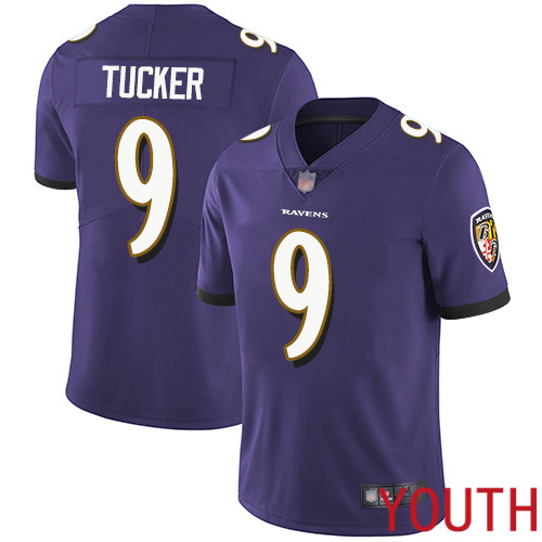 Baltimore Ravens Limited Purple Youth Justin Tucker Home Jersey NFL Football 9 Vapor Untouchable