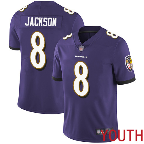 Baltimore Ravens Limited Purple Youth Lamar Jackson Home Jersey NFL Football 8 Vapor Untouchable