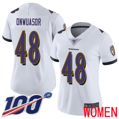 Baltimore Ravens Limited White Women Patrick Onwuasor Road Jersey NFL Football 48 100th Season Vapor Untouchable