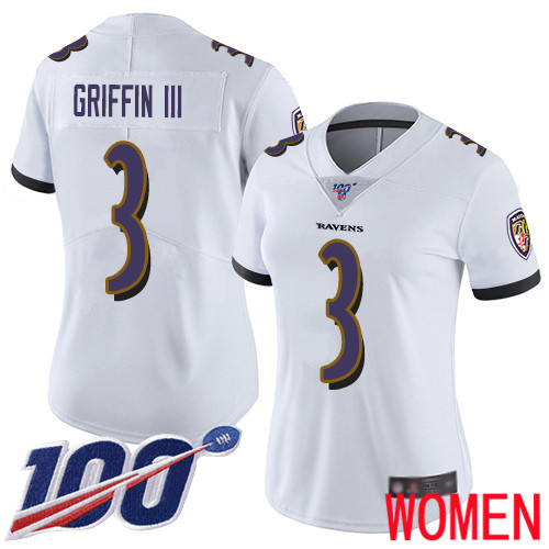 Baltimore Ravens Limited White Women Robert Griffin III Road Jersey NFL Football 3 100th Season Vapor Untouchable