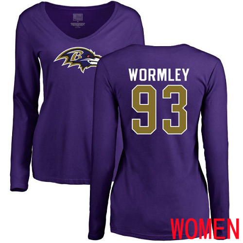 Baltimore Ravens Purple Women Chris Wormley Name and Number Logo NFL Football 93 Long Sleeve T Shirt