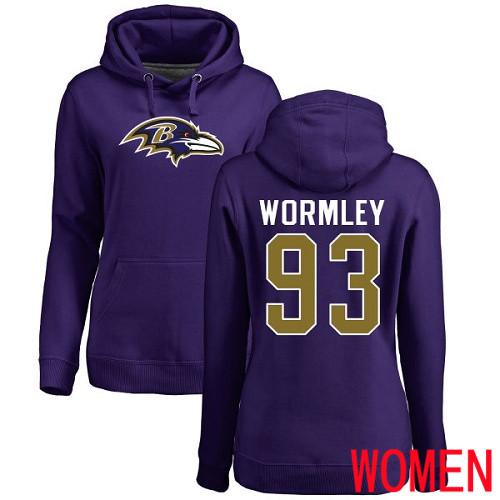 Baltimore Ravens Purple Women Chris Wormley Name and Number Logo NFL Football 93 Pullover Hoodie Sweatshirt