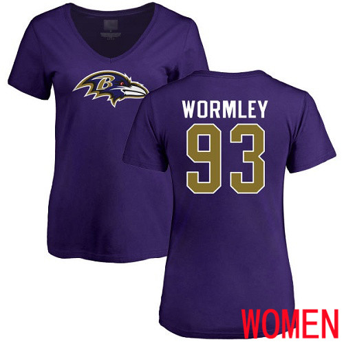 Baltimore Ravens Purple Women Chris Wormley Name and Number Logo NFL Football 93 T Shirt