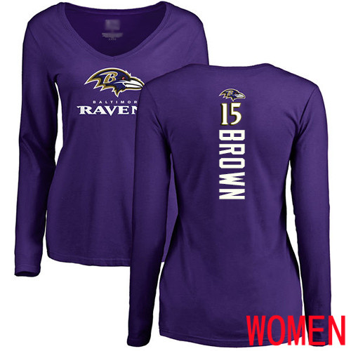 Baltimore Ravens Purple Women Marquise Brown Backer NFL Football 15 Long Sleeve T Shirt