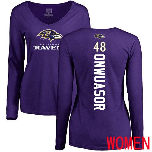 Baltimore Ravens Purple Women Patrick Onwuasor Backer NFL Football 48 Long Sleeve T Shirt