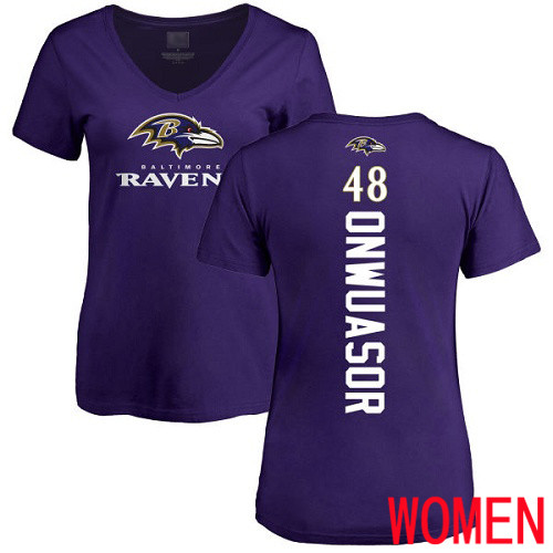 Baltimore Ravens Purple Women Patrick Onwuasor Backer NFL Football 48 T Shirt