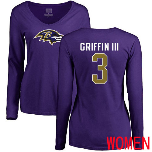 Baltimore Ravens Purple Women Robert Griffin III Name and Number Logo NFL Football 3 Long Sleeve T Shirt