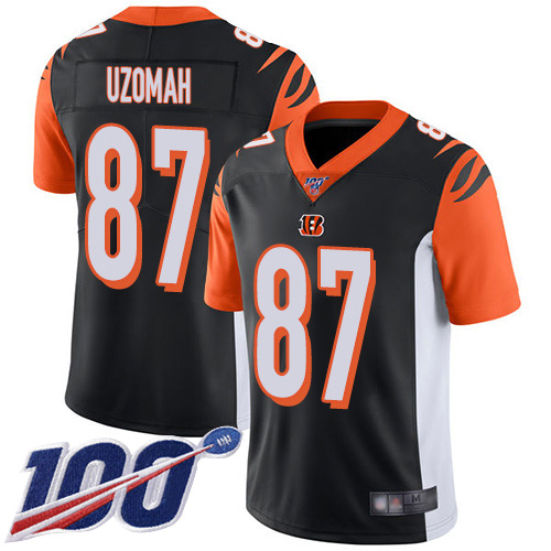Cincinnati Bengals Limited Black Men C J Uzomah Home Jersey NFL Footballl 87 100th Season Vapor Untouchable