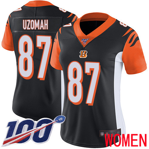 Cincinnati Bengals Limited Black Women C J Uzomah Home Jersey NFL Footballl 87 100th Season Vapor Untouchable