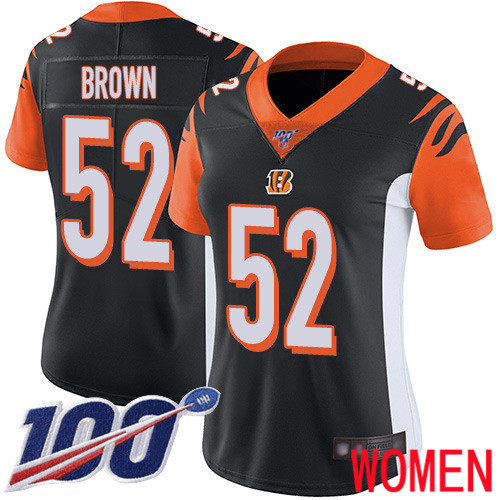 Cincinnati Bengals Limited Black Women Preston Brown Home Jersey NFL Footballl 52 100th Season Vapor Untouchable