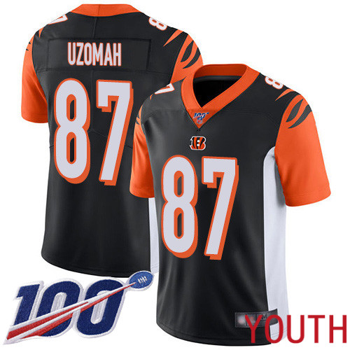 Cincinnati Bengals Limited Black Youth C J Uzomah Home Jersey NFL Footballl 87 100th Season Vapor Untouchable