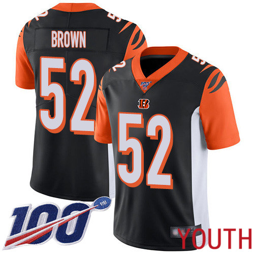 Cincinnati Bengals Limited Black Youth Preston Brown Home Jersey NFL Footballl 52 100th Season Vapor Untouchable