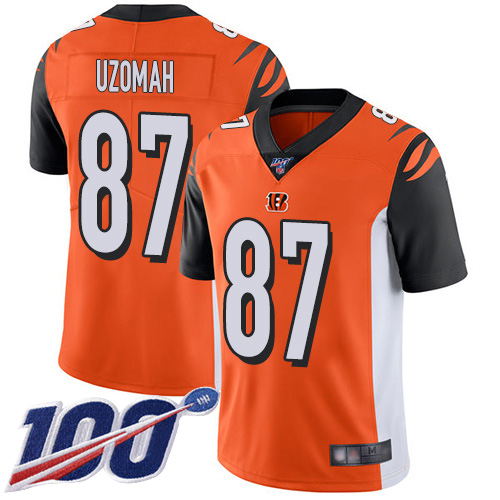 Cincinnati Bengals Limited Orange Men C J Uzomah Alternate Jersey NFL Footballl 87 100th Season Vapor Untouchable