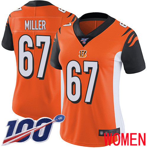 Cincinnati Bengals Limited Orange Women John Miller Alternate Jersey NFL Footballl 67 100th Season Vapor Untouchable