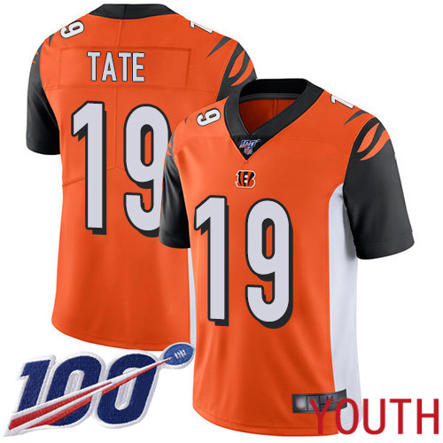 Cincinnati Bengals Limited Orange Youth Auden Tate Alternate Jersey NFL Footballl 19 100th Season Vapor Untouchable