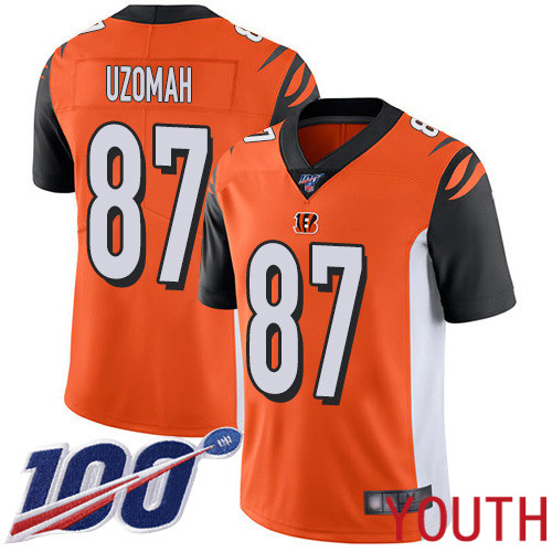 Cincinnati Bengals Limited Orange Youth C J Uzomah Alternate Jersey NFL Footballl 87 100th Season Vapor Untouchable