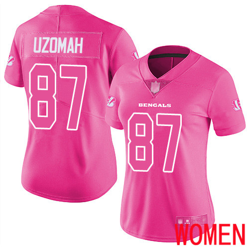 Cincinnati Bengals Limited Pink Women C J Uzomah Jersey NFL Footballl 87 Rush Fashion