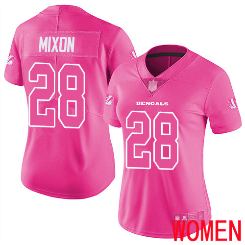 Cincinnati Bengals Limited Pink Women Joe Mixon Jersey NFL Footballl 28 Rush Fashion