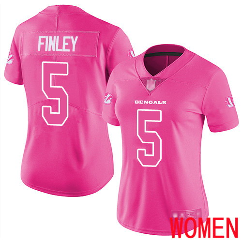 Cincinnati Bengals Limited Pink Women Ryan Finley Jersey NFL Footballl 5 Rush Fashion