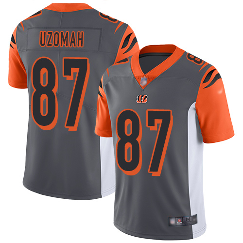 Cincinnati Bengals Limited Silver Men C J Uzomah Jersey NFL Footballl 87 Inverted Legend