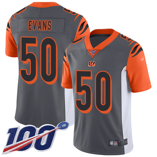 Cincinnati Bengals Limited Silver Men Jordan Evans Jersey NFL Footballl 50 100th Season Inverted Legend
