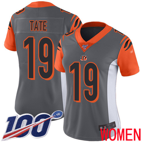 Cincinnati Bengals Limited Silver Women Auden Tate Jersey NFL Footballl 19 100th Season Inverted Legend
