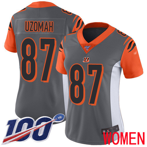 Cincinnati Bengals Limited Silver Women C J Uzomah Jersey NFL Footballl 87 100th Season Inverted Legend