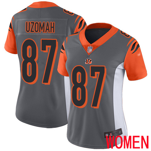 Cincinnati Bengals Limited Silver Women C J Uzomah Jersey NFL Footballl 87 Inverted Legend