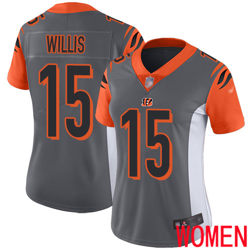 Cincinnati Bengals Limited Silver Women Damion Willis Jersey NFL Footballl 15 Inverted Legend
