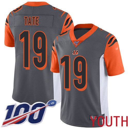 Cincinnati Bengals Limited Silver Youth Auden Tate Jersey NFL Footballl 19 100th Season Inverted Legend