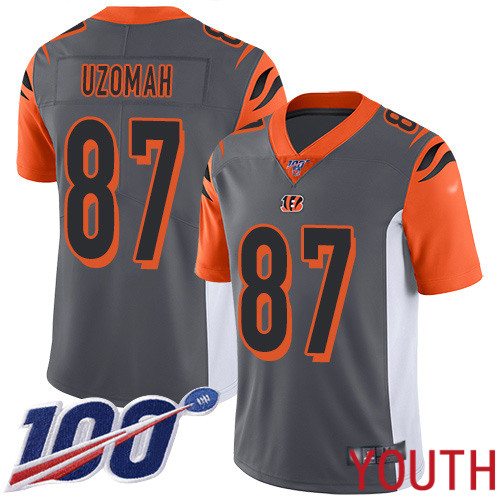 Cincinnati Bengals Limited Silver Youth C J Uzomah Jersey NFL Footballl 87 100th Season Inverted Legend