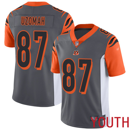 Cincinnati Bengals Limited Silver Youth C J Uzomah Jersey NFL Footballl 87 Inverted Legend