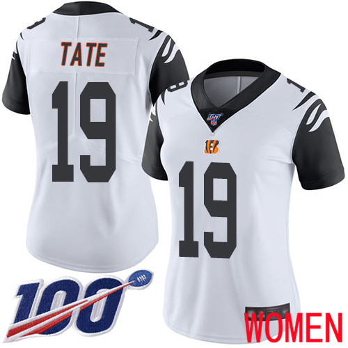 Cincinnati Bengals Limited White Women Auden Tate Jersey NFL Footballl 19 100th Season Rush Vapor Untouchable