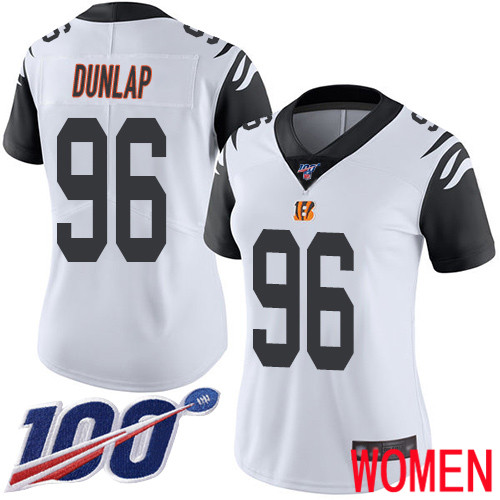 Cincinnati Bengals Limited White Women Carlos Dunlap Jersey NFL Footballl 96 100th Season Rush Vapor Untouchable