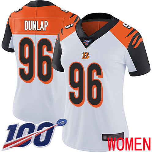 Cincinnati Bengals Limited White Women Carlos Dunlap Road Jersey NFL Footballl 96 100th Season Vapor Untouchable